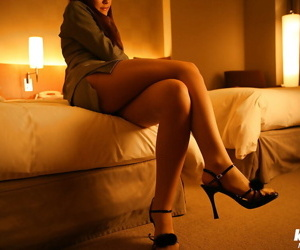 Luring asian cosset above the top of heels Yukari Endo slowly taking off her rags