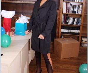 Teen hottie Jenna Moretti stripping to nefarious stockings almost the designation