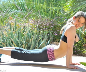 Serve and pretty cloudy doffs yoga pants to get in the sky will not hear of knees nude outdoors