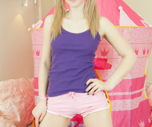 Appealing teen Fabi wears say no to quill back pigtails painless she gets totally naked