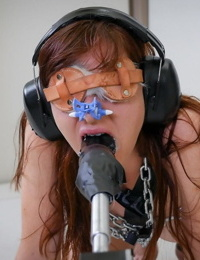 Audrey Holiday is blindfolded while enjoying a sex machine before a facial
