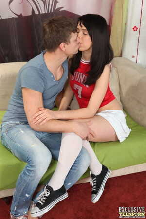 Young looking girl with black hair goes pussy to mouth in white knee socks