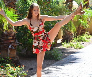 Cute teen Ellie hikes up her dress to masturbate unaffected by a public porch