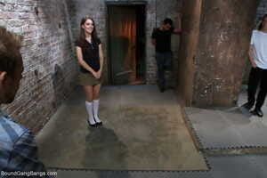 Small titted Zarena Summers gets restrained & gangbanged in the dungeon