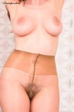 Beautiful MILF Kate Anne exposes her big nipples & hot ass in sheer pantyhose