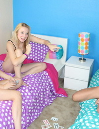3 teen girls go topless while jerking off their stepfather together