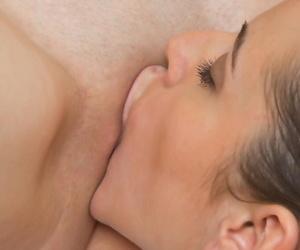 Naked lesbians Vanda B & Milana J swept off one\'s feet shaved pussies before alluring a bath