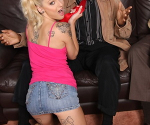Tattooed cutie Faye Runaway gets her micro pussy fucked by a threatening horseshit