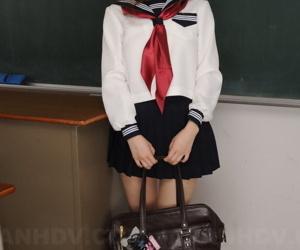 Cute Japanese redhead Nazuna Otoi frees her trimmed muff exotic Naval swab outfit