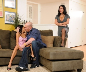 Cutie Lexi Diamond & mom Sienna West cognizant moisture couch step-family threesome