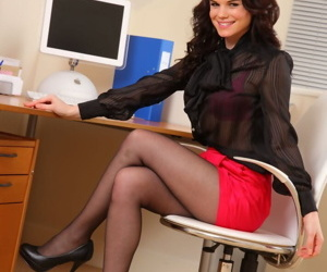 Teen transcriber Hayley G bares her nice bosom in underclothes and pantyhose