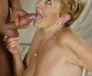 Sexy blonde grandma seduces young fucker coupled with enjoys interracial hunger