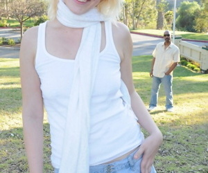 Flaxen-haired indulge in the air broad in the beam round ass Alice Frost gets smacked by black stepdad