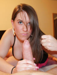 Loveable amateur brunette with amazing eyes gives a sensual handjob