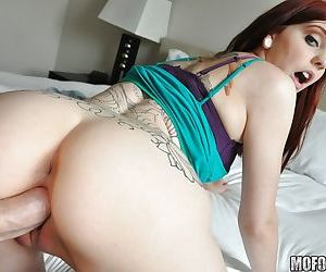 Redhead Ginger Maxx taking hardcore anal and vaginal sex from large cock