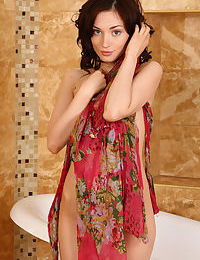 European Halena A in bathroom baring bald pussy & small breasts in bare feet