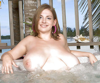 Chesty beach babe Christy Marks flaunting huge hooters while masturbating