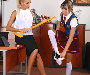 Schoolgirl spinner caught smokin\' and has in nature\'s garb anus spanked by MILF educator