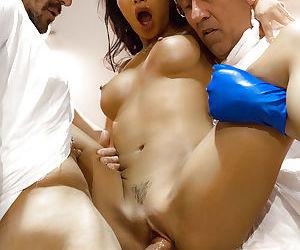 Asian pornstar Asa Akira taking hardcore DP and sucking cock in gangbang