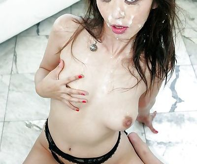 Jizz starving asian slut Marica Hase gets blowbanged and bukkaked