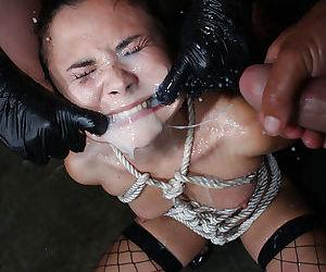 Asian babe Kita Zen gets bukkake after hardcore bondage sex