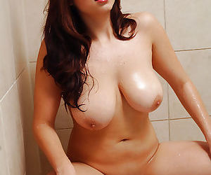 Top heavy Asian first timer Mai flaunting huge hooters in shower