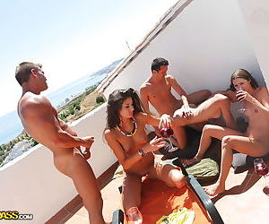 Drunk coeds demonstrating their goods and getting fucked outdoor