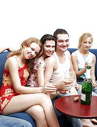 Cum hungry coeds enjoy a drunk groupsex party with horny lads