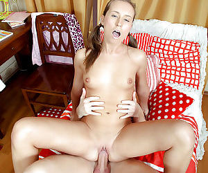 Naughty schoolgirl gives a blowjob and gets her pussy creampied