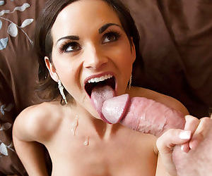 Hot wife Ashley Sinclair enjoying cum on face as her big tits are caressed