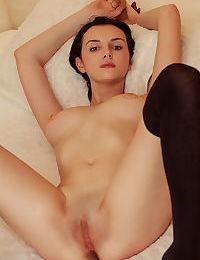 Teen fashion model Anatali strips to hooker socks to display naked beauty