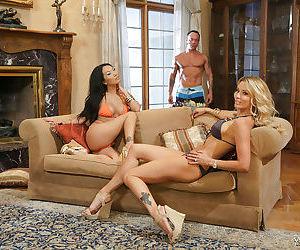 Interracial MILF pornstars Asa Akira and Jessica Drake taking cum on tongue