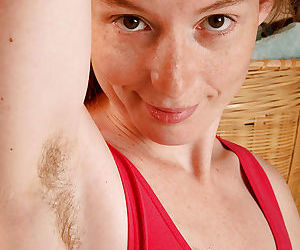 Over 30 wife Ana Molly showing off hairy armpits and vagina close up