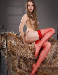 Glamour babe Victoriya A rolling mesh stocking down teen legs