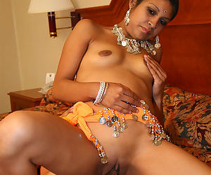 Pierced Indian Dipti with darkniples fucking doggystyle for bald twat creampie