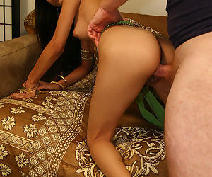 Sexy Indian girl Shanti in heels spreading to show shaved pussy creampie