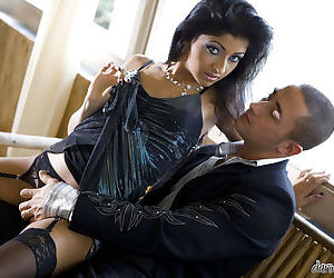Appealing indian lassie in stockings gets boned-up hardcore