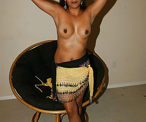 Lustful indian lady uncovering her nice tits and hairy pussy