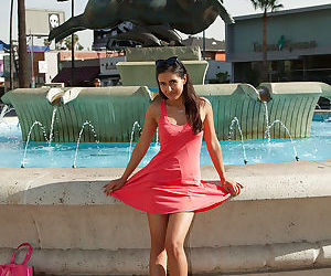 Adorable young amateur babe Vijaya Singh spreading her legs outdoors