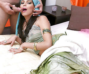 Fully clothed Indian giving blowjob & getting cum small tits cum covered