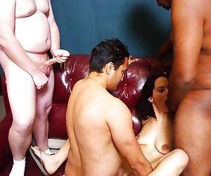 Indian MILF Vanita Sakala taking interracial gangbang and cumshots