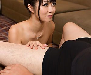 Asian beauty licks sperm withdraw fingers after consequential the Nautical tack handjob every time
