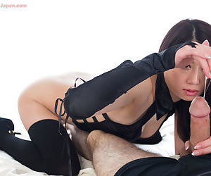 Japanese chick in thigh conceited socks & long gloves rations cum stopping socking handjob