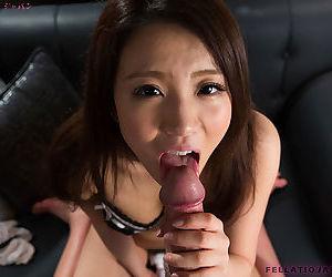Cute Japanese Asian girl Nakahori Ayumu giving closeup POV blowjob
