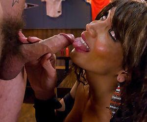 Kinky Asian ladyboy Yasmin Lee getting cum all over her beautiful rack