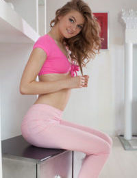European glamour model Patritcy A teasing as she pulls off yoga pants