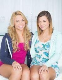 Coed lesbians Katerina Kay and Keisha Grey tease each others boobs