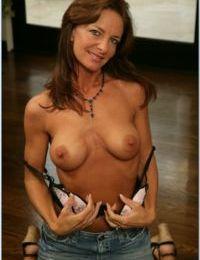 Mature wife Sarah Bricks revealing ripe boobs and fucking fervently