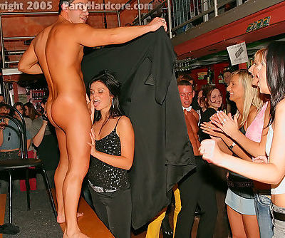 Dirty-minded amateurs getting naughty at the party with male strippers