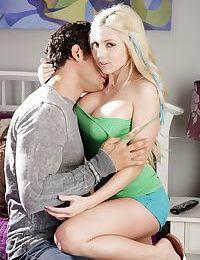 Stunning blonde teen Christie Stevens having big teen tits freed by bf